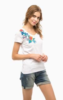 Белая футболка с принтом и вышивкой Mavi