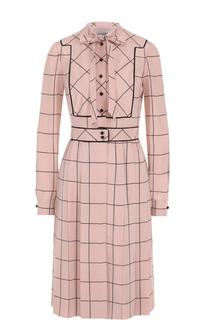 Шелковое платье-рубашка в клетку Valentino