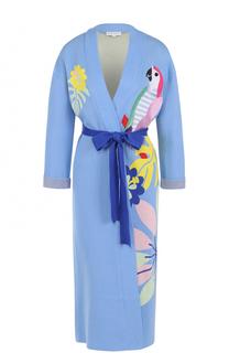 Удлиненный кардиган с поясом и вышивкой Mira Mikati