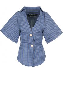 Блуза в клетку с укороченными рукавами Jacquemus