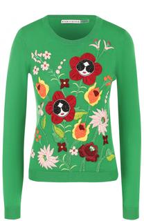 Пуловер прямого кроя с контрастной отделкой Alice + Olivia