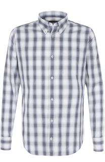 Хлопковая рубашка в клетку с воротником button down Tom Ford