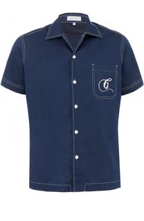 Рубашка из смеси шелка и хлопка с короткими рукавами Cortigiani