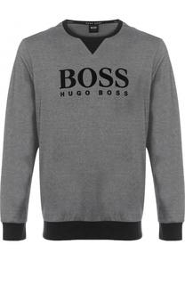 Хлопковый свитшот с логотипом бренда BOSS