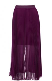 Шелковая плиссированная юбка-миди Roberto Cavalli