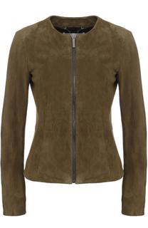 Приталенная замшевая куртка с круглым вырезом HUGO
