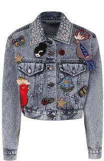Укороченные джинсовая куртка с декоративной отделкой Alice + Olivia