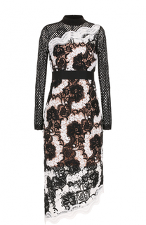 Кружевное платье-миди с длинным рукавом self-portrait