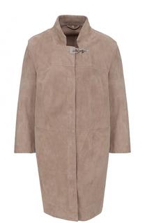 Замшевое пальто прямого кроя с укороченным рукавом Fay