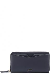 Кожаный бумажник на молнии DKNY