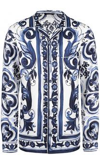 Шелковая рубашка в пижамном стиле с принтом Dolce & Gabbana