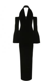 Бархатное платье-макси с открытыми плечами Tom Ford
