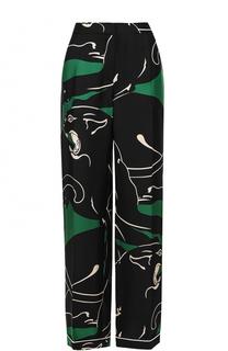 Шелковые брюки прямого кроя с принтом Valentino