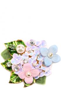 Брошь с цветочным декором и кристаллами Swarovski Dolce & Gabbana