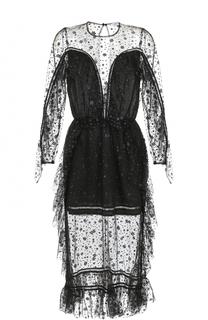 Полупрозрачное платье-миди с оборками Alice McCall