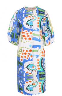 Приталенное платье с рукавом-фонарик и принтом Tata Naka