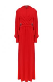 Приталенное платье-макси с драпировкой и вырезом-капелька Alexander McQueen