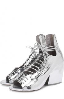 Босоножки из металлизированной кожи на шнуровке Marsell