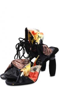 Текстильные босоножки на фигурном каблуке Dries Van Noten