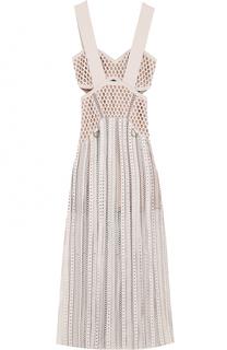 Приталенное кружевное платье-миди self-portrait