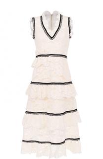 Кружевное платье-миди с V-образным вырезом self-portrait