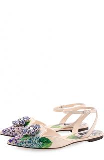 Кожаные балетки с цветочным принтом и брошью Dolce & Gabbana