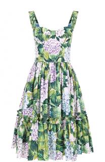 Приталенный сарафан с цветочным принтом Dolce & Gabbana