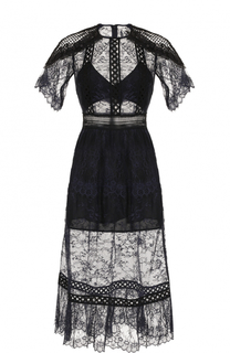 Полупрозрачное кружевное платье-миди self-portrait