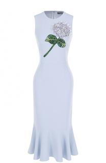 Платье-миди с юбкой-годе и цветочной отделкой Dolce & Gabbana