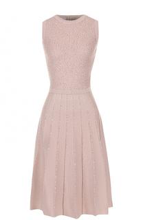Вязаное мини-платье с пайетками Oscar de la Renta