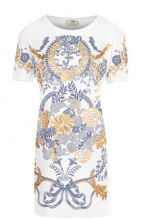 Мини-платье прямого кроя с принтом Fendi