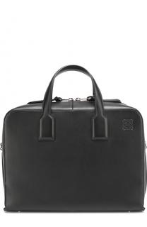 Кожаный портфель на молнии с плечевым ремнем Loewe