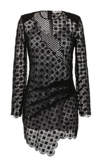 Кружевное мини-платье с длинным рукавом self-portrait