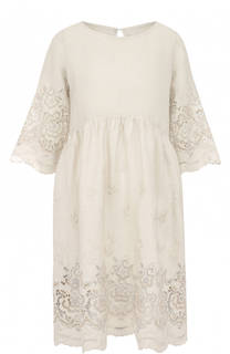 Льняное платье свободного кроя с кружевной отделкой 120% Lino
