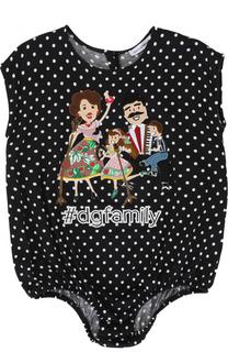 Хлопковое боди в горох с аппликацией Dolce & Gabbana