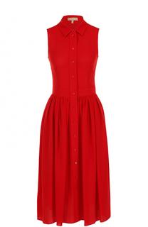 Шелковое платье-рубашка без рукавов Michael Kors