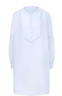 Льняное мини-платье с перфорацией 120% Lino
