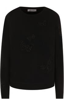 Свитшот свободного кроя с вышивкой в виде бабочек Valentino