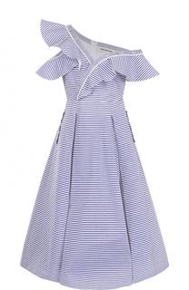 Приталенное платье асимметричного кроя в полоску self-portrait