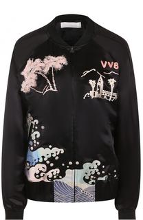 Бомбер на молнии с яркой вышивкой Victoria by Victoria Beckham