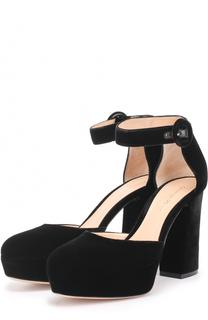 Бархатные туфли на устойчивом каблуке и платформе Gianvito Rossi