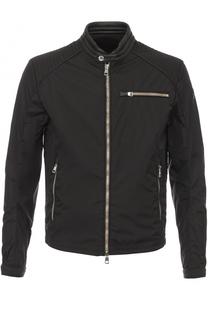 Куртка на молнии с воротником-стойкой и отделкой из натуральной кожи Moncler