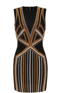 Мини-платье с контрастными стразами Balmain