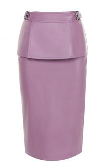 Кожаная юбка-карандаш с баской Tom Ford