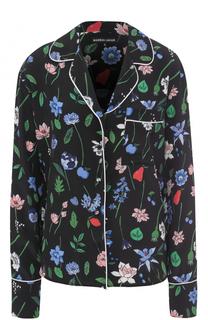Шелковая блуза в пижамном стиле с принтом Markus Lupfer