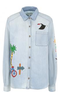 Джинсовая блуза прямого кроя с принтом Mira Mikati