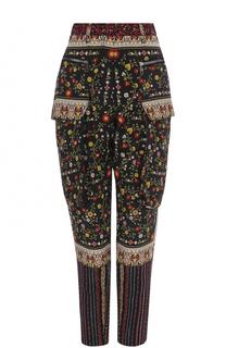 Шелковые брюки-бананы с цветочным принтом No. 21
