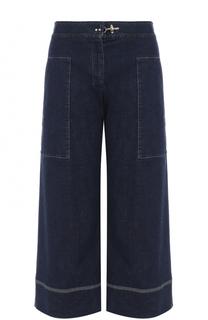 Укороченные широкие джинсы с контрастной прострочкой Fay