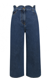 Укороченные широкие джинсы с фестонами Valentino
