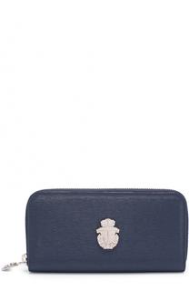Кожаное портмоне на молнии с отделениями для кредитных карт и монет Billionaire